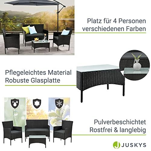 ArtLife Polyrattan Gartenmöbel-Set Fort Myers schwarz – Sitzgruppe mit Tisch, Sofa & 2 Stühlen – Balkonmöbel für 4 Personen mit grauen Auflagen - 4