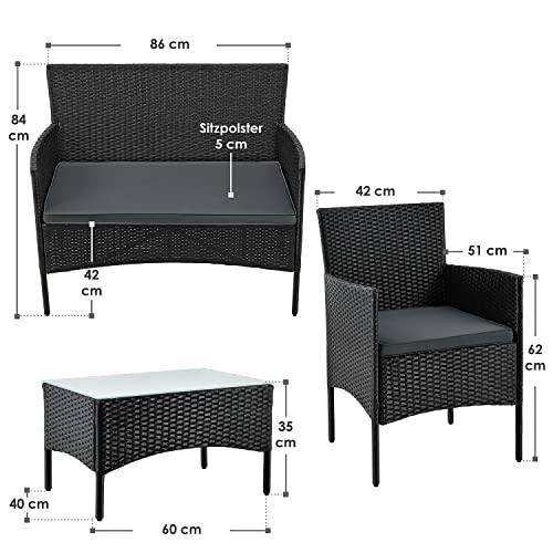 ArtLife Polyrattan Gartenmöbel-Set Fort Myers schwarz – Sitzgruppe mit Tisch, Sofa & 2 Stühlen – Balkonmöbel für 4 Personen mit grauen Auflagen - 7
