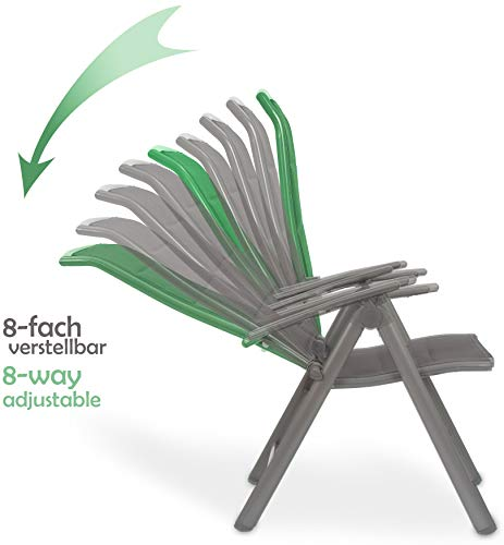 Brubaker Garten Sitzgruppe Milano – 1 Glastisch Klapptisch rund 70 cm Ø mit 2 Hochlehner Stühlen – Aluminium – Wetterfest – Silbergrau - 4