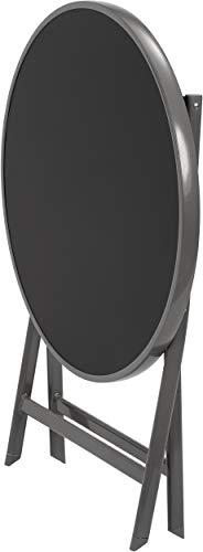 Brubaker Garten Sitzgruppe Milano – 1 Glastisch Klapptisch rund 70 cm Ø mit 2 Hochlehner Stühlen – Aluminium – Wetterfest – Silbergrau - 6