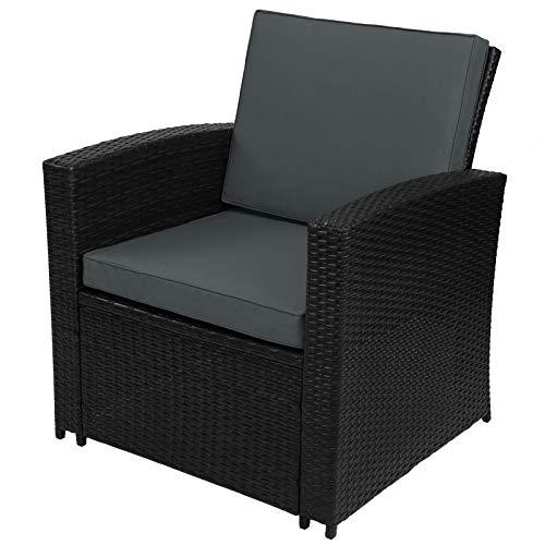 Montafox 12-teilige Polyrattan Sitzgruppe 4 Personen 5 cm Sitzpolster Tisch Balkonmöbel Set Sitzgarnitur Schwarz, Farbe:Titan-Schwarz/Nachtschwärmergrau - 7