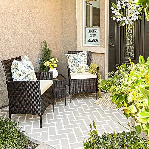 SONGMICS Gartenmöbel-Set aus Polyrattan, Lounge-Set, in Rattanoptik, Terrassenmöbel, Balkonmöbel, für Terrasse, Garten, Balkon, braun-beige GGF001K02 - 3