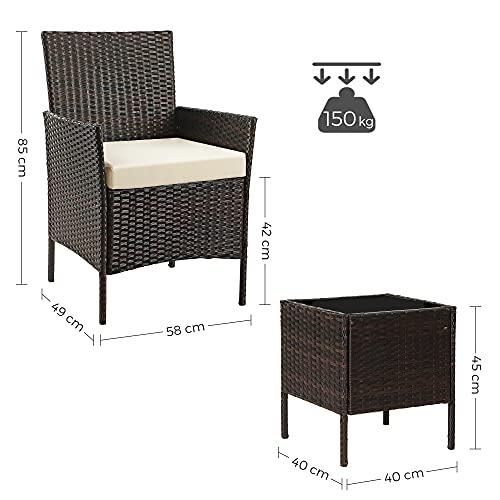 SONGMICS Gartenmöbel-Set aus Polyrattan, Lounge-Set, in Rattanoptik, Terrassenmöbel, Balkonmöbel, für Terrasse, Garten, Balkon, braun-beige GGF001K02 - 7