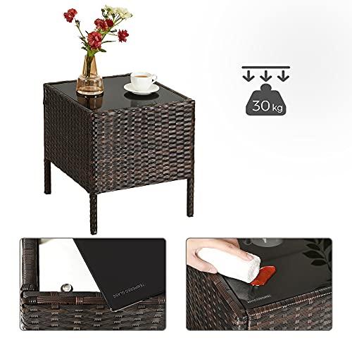 SONGMICS Gartenmöbel-Set aus Polyrattan, Lounge-Set, in Rattanoptik, Terrassenmöbel, Balkonmöbel, für Terrasse, Garten, Balkon, braun-beige GGF001K02 - 9