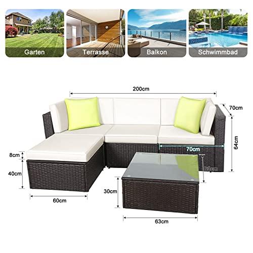 GOJOOASIS Polyratten Lounge, 5 Teilig Sitzgruppe, 200cm Gartenmöbel Garnitur für 3-4 Personen, Couch-Set in Braun-schwarz mit beigen Bezügen&grünen Kopfkissen, für Garten, Terrasse&Balkon(2 Pakete) - 3