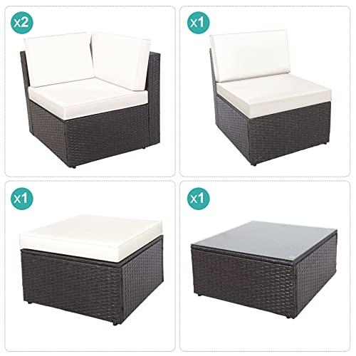 GOJOOASIS Polyratten Lounge, 5 Teilig Sitzgruppe, 200cm Gartenmöbel Garnitur für 3-4 Personen, Couch-Set in Braun-schwarz mit beigen Bezügen&grünen Kopfkissen, für Garten, Terrasse&Balkon(2 Pakete) - 7
