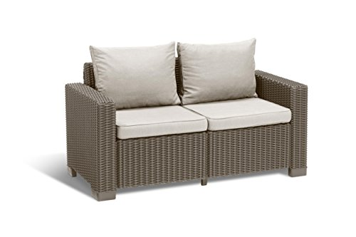 """Allibert by Keter"" Gartenlounge Sofa California 2-Sitzer, cappuccino/panama sand, inkl. Sitz- und Rückenkissen, Kunststoff, runde Rattanoptik"
