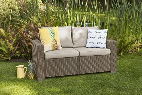 """Allibert by Keter"" Gartenlounge Sofa California 2-Sitzer, cappuccino/panama sand, inkl. Sitz- und Rückenkissen, Kunststoff, runde Rattanoptik - 2"