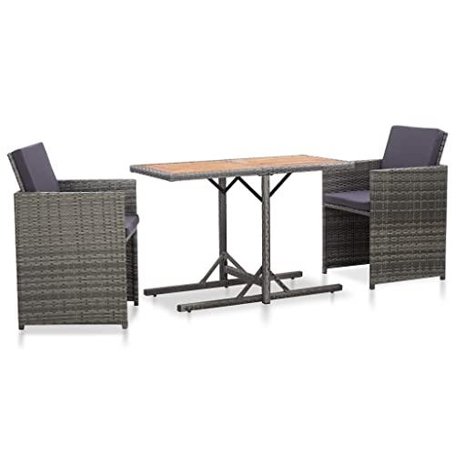 vidaXL Bistroset mit Auflagen 3-TLG. Balkonset Balkonmöbel Garnitur Sitzgruppe Sitzgarnitur Gartenmöbel Tisch 2 Stühle Poly Rattan Grau