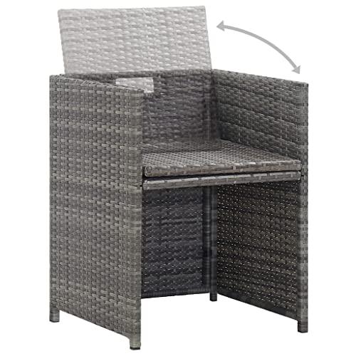 vidaXL Bistroset mit Auflagen 3-TLG. Balkonset Balkonmöbel Garnitur Sitzgruppe Sitzgarnitur Gartenmöbel Tisch 2 Stühle Poly Rattan Grau - 2