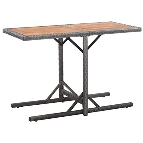 vidaXL Bistroset mit Auflagen 3-TLG. Balkonset Balkonmöbel Garnitur Sitzgruppe Sitzgarnitur Gartenmöbel Tisch 2 Stühle Poly Rattan Grau - 4