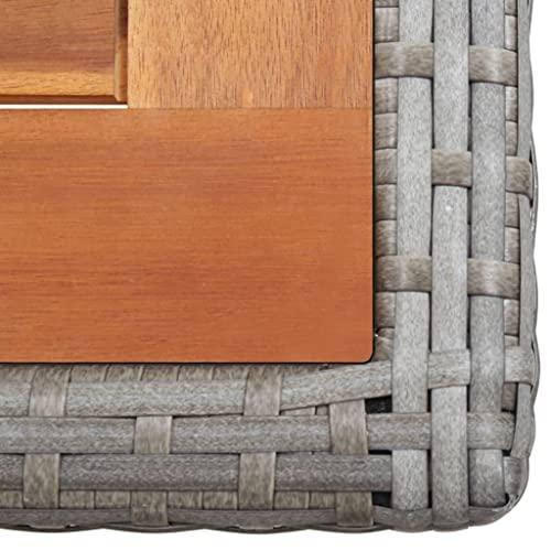 vidaXL Bistroset mit Auflagen 3-TLG. Balkonset Balkonmöbel Garnitur Sitzgruppe Sitzgarnitur Gartenmöbel Tisch 2 Stühle Poly Rattan Grau - 7