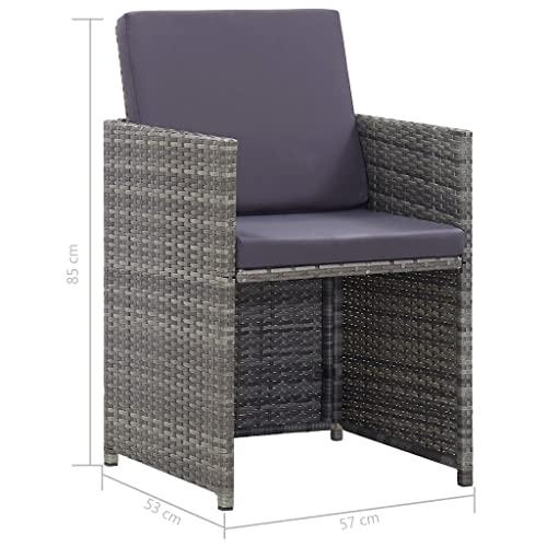 vidaXL Bistroset mit Auflagen 3-TLG. Balkonset Balkonmöbel Garnitur Sitzgruppe Sitzgarnitur Gartenmöbel Tisch 2 Stühle Poly Rattan Grau - 8