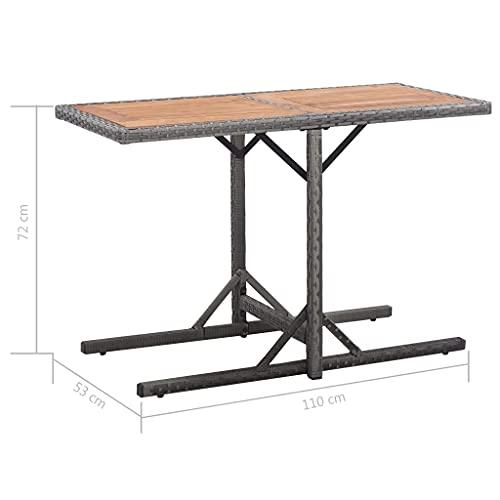 vidaXL Bistroset mit Auflagen 3-TLG. Balkonset Balkonmöbel Garnitur Sitzgruppe Sitzgarnitur Gartenmöbel Tisch 2 Stühle Poly Rattan Grau - 9