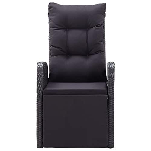 vidaXL Bistroset 3-TLG. mit Auflagen Balkonset Sitzgruppe Gartenmöbel Balkonmöbel Gartenset Garnitur Tisch Stühle Poly Rattan Schwarz - 7