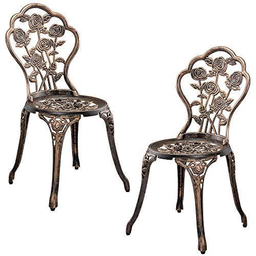 casa.pro Gartentisch/Bistro-Tisch 60cm, rund, Bronze mit 2 Stühlen – Französische Gartenmöbel im Antik-Look für Balkon/Terrasse – Bistro-Set wetterbeständig, Gusseisen-Metall als Gartendeko - 5