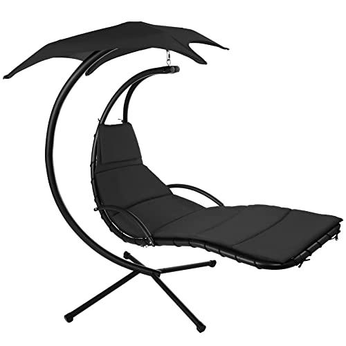 TecTake 800699 Hängeliege mit Gestell und Sonnendach mit UV Schutz, 195 x 118 x 202 cm, ergonomisch geformte Liegefläche, inkl. Sitz- und Kopfpolster - Diverse Farben – (Schwarz | Nr. 403074)
