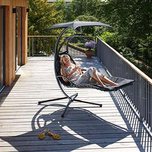 TecTake 800699 Hängeliege mit Gestell und Sonnendach mit UV Schutz, 195 x 118 x 202 cm, ergonomisch geformte Liegefläche, inkl. Sitz- und Kopfpolster – Diverse Farben – (Schwarz   Nr. 403074) - 2