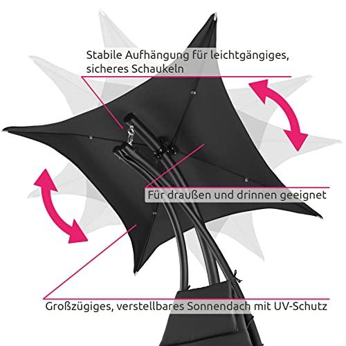 TecTake 800699 Hängeliege mit Gestell und Sonnendach mit UV Schutz, 195 x 118 x 202 cm, ergonomisch geformte Liegefläche, inkl. Sitz- und Kopfpolster – Diverse Farben – (Schwarz   Nr. 403074) - 5