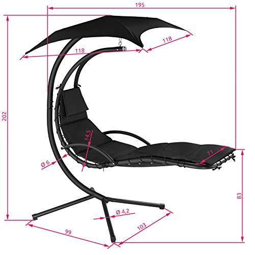 TecTake 800699 Hängeliege mit Gestell und Sonnendach mit UV Schutz, 195 x 118 x 202 cm, ergonomisch geformte Liegefläche, inkl. Sitz- und Kopfpolster – Diverse Farben – (Schwarz   Nr. 403074) - 6