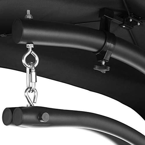 TecTake 800699 Hängeliege mit Gestell und Sonnendach mit UV Schutz, 195 x 118 x 202 cm, ergonomisch geformte Liegefläche, inkl. Sitz- und Kopfpolster – Diverse Farben – (Schwarz   Nr. 403074) - 8