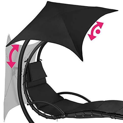 TecTake 800699 Hängeliege mit Gestell und Sonnendach mit UV Schutz, 195 x 118 x 202 cm, ergonomisch geformte Liegefläche, inkl. Sitz- und Kopfpolster – Diverse Farben – (Schwarz   Nr. 403074) - 9