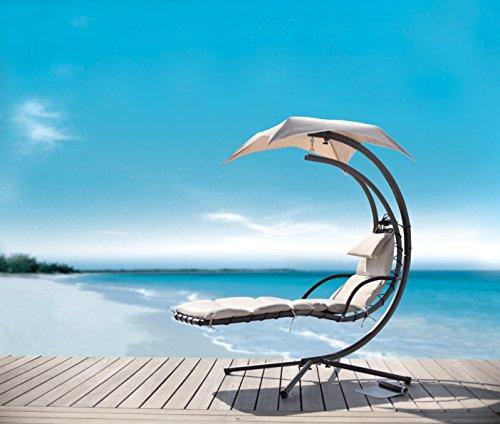 SoBuy OGS16 Schwebeliege mit Sonnenschirm Relaxliege Schwingliege Schaukelliege Hängesessel Hängeliege Sonnenliege Belastbarkeit 120kg beige