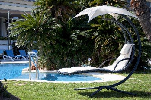 SoBuy OGS16 Schwebeliege mit Sonnenschirm Relaxliege Schwingliege Schaukelliege Hängesessel Hängeliege Sonnenliege Belastbarkeit 120kg beige - 2