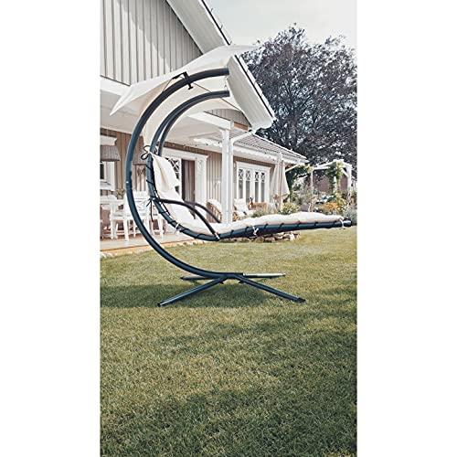 SoBuy OGS16 Schwebeliege mit Sonnenschirm Relaxliege Schwingliege Schaukelliege Hängesessel Hängeliege Sonnenliege Belastbarkeit 120kg beige - 3
