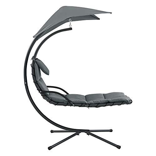 [en.casa] Hängeliege mit Sonnendach Schwebeliege mit Polsterauflage 120 kg Schwingliege Relaxliege Stahlgestell Polyester Grau - 4