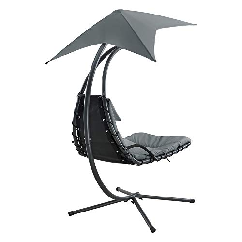 [en.casa] Hängeliege mit Sonnendach Schwebeliege mit Polsterauflage 120 kg Schwingliege Relaxliege Stahlgestell Polyester Grau - 5