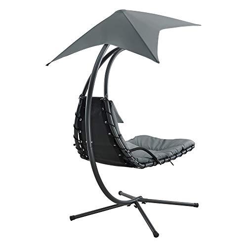 [en.casa] Hängeliege mit Sonnendach Schwebeliege mit Polsterauflage 120 kg Schwingliege Relaxliege Stahlgestell Polyester Grau - 6