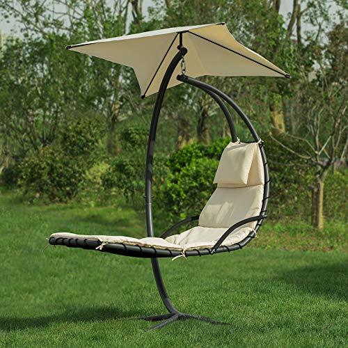 SoBuy OGS39-MI Schwebeliege mit Sonnenschirm Relaxliege Schwingliege Schaukelliege Hängesessel Hängeliege Sonnenliege Belastbarkeit 120kg beige BHT ca: 170x210x115cm - 5