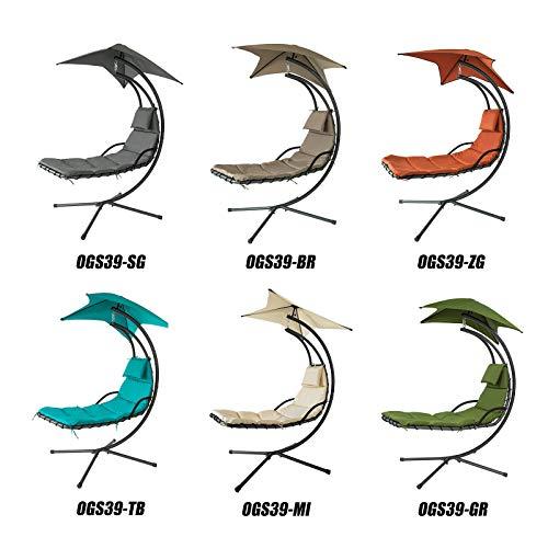 SoBuy OGS39-MI Schwebeliege mit Sonnenschirm Relaxliege Schwingliege Schaukelliege Hängesessel Hängeliege Sonnenliege Belastbarkeit 120kg beige BHT ca: 170x210x115cm - 9