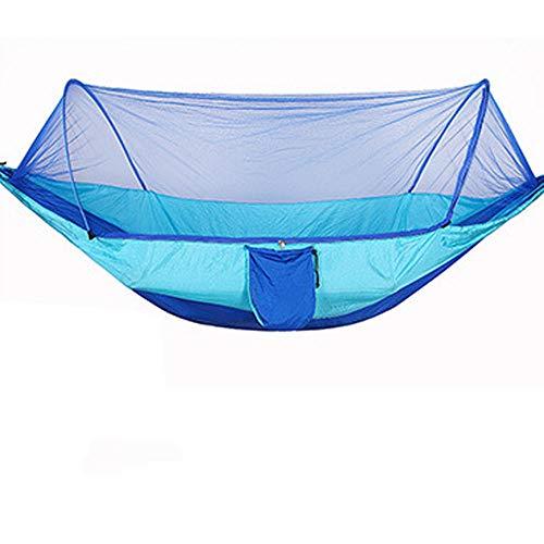 HUANXI Tragbar Doppelt Hängeliege Outdoor mit Aufbewahrungstasche + Gurt,300kg Tragfähigkeit (250x120cm) Blau Balkon Schaukel für Indoor Outdoor Wandercamping