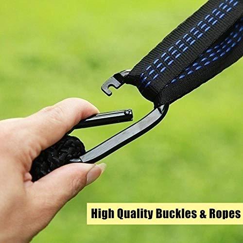 HUANXI Tragbar Doppelt Hängeliege Outdoor mit Aufbewahrungstasche + Gurt,300kg Tragfähigkeit (250x120cm) Blau Balkon Schaukel für Indoor Outdoor Wandercamping - 2