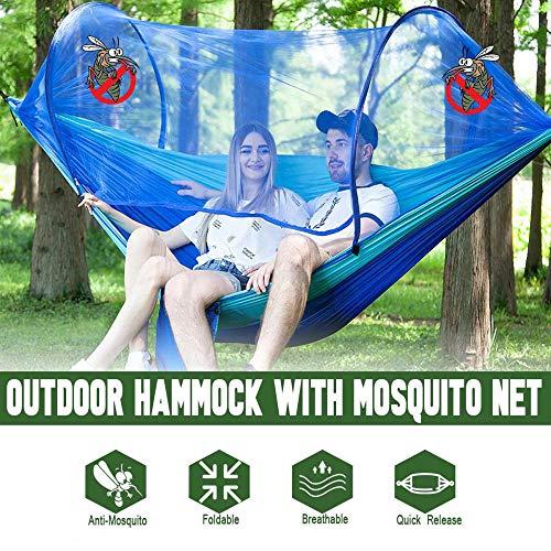 HUANXI Tragbar Doppelt Hängeliege Outdoor mit Aufbewahrungstasche + Gurt,300kg Tragfähigkeit (250x120cm) Blau Balkon Schaukel für Indoor Outdoor Wandercamping - 4