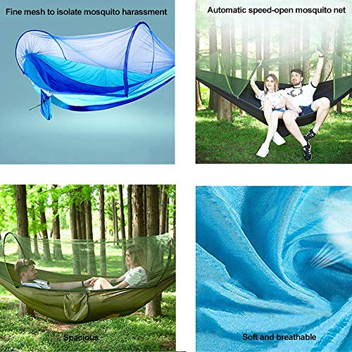 HUANXI Tragbar Doppelt Hängeliege Outdoor mit Aufbewahrungstasche + Gurt,300kg Tragfähigkeit (250x120cm) Blau Balkon Schaukel für Indoor Outdoor Wandercamping - 5