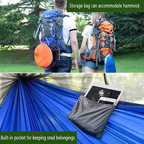 HUANXI Tragbar Doppelt Hängeliege Outdoor mit Aufbewahrungstasche + Gurt,300kg Tragfähigkeit (250x120cm) Blau Balkon Schaukel für Indoor Outdoor Wandercamping - 6