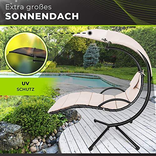 tillvex Hängeliege mit Gestell und Sonnendach | Schwebeliege Outdoor | Sonnenliege Garten | Relaxliege mit Auflage und Nackenkissen (Beige) - 8
