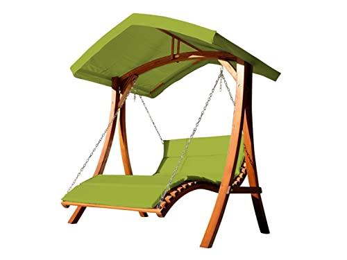 Design Hollywoodliege Doppelliege 'Aruba' aus Holz Lärche mit Dach von AS-S, Farbe:Grün