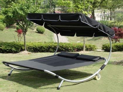 Loywe Sonnenliege Doppelliege mit Dach für 2-Personen Doppel Gartenliege mit Sonnendach für Garten oder Balkon ,200x195x145cm LW22-Schwarz - 2
