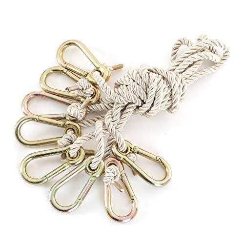 Ampel 24 Outdoor Hängematte mit Gestell Madagaskar 400 cm und Sicherung, Hängemattengestell Holz sibirische Lärche | Stabhängematte wollweiß Baumwolle - 6