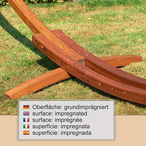 Ampel 24 Outdoor Hängematte mit Gestell Madagaskar 400 cm und Sicherung, Hängemattengestell Holz sibirische Lärche | Stabhängematte wollweiß Baumwolle - 7