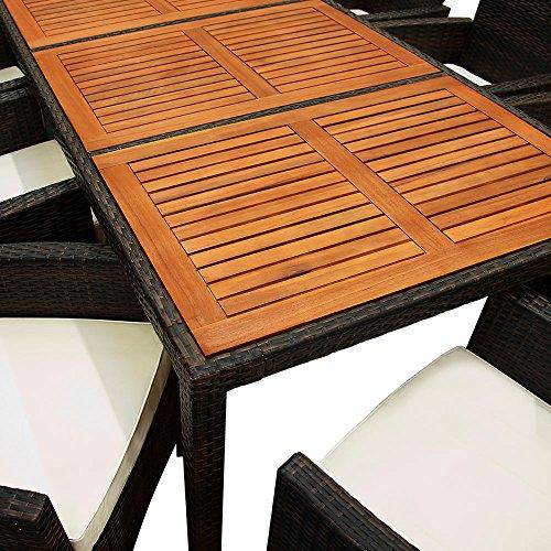 Deuba Poly Rattan Sitzgruppe Garten 8 Breite Stühle 7cm Auflagen Gartentisch Akazie Holz 8 Personen Gartenmöbel Set Braun - 5