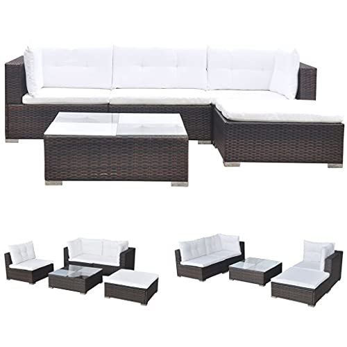 vidaXL Gartenmöbel 14-TLG. Poly Rattan Sofa Lounge Sitzgruppe Gartengarnitur