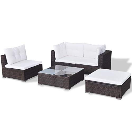 vidaXL Gartenmöbel 14-TLG. Poly Rattan Sofa Lounge Sitzgruppe Gartengarnitur - 5