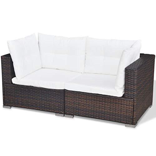 vidaXL Gartenmöbel 14-TLG. Poly Rattan Sofa Lounge Sitzgruppe Gartengarnitur - 8