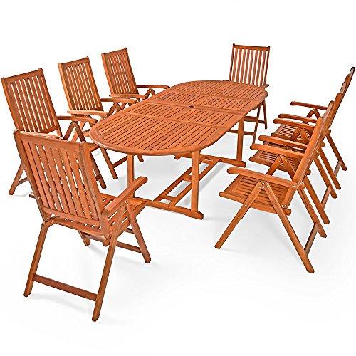Deuba Sitzgruppe Moreno 8+1 FSC®-zertifiziertes Eukalyptusholz klappbar 9-TLG Tisch Sitzgarnitur Holz Gartenmöbel Garten Set