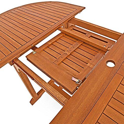 Deuba Sitzgruppe Moreno 8+1 FSC®-zertifiziertes Eukalyptusholz klappbar 9-TLG Tisch Sitzgarnitur Holz Gartenmöbel Garten Set - 8